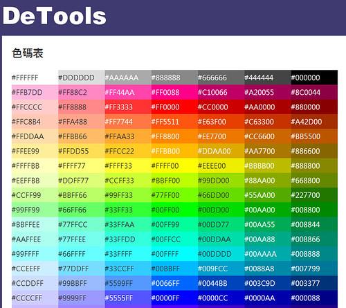 DeTools 色碼表