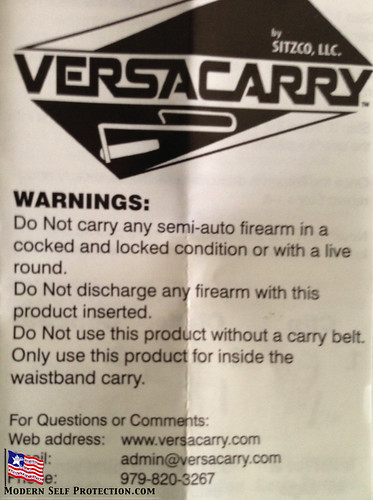 VersaCarry Warning