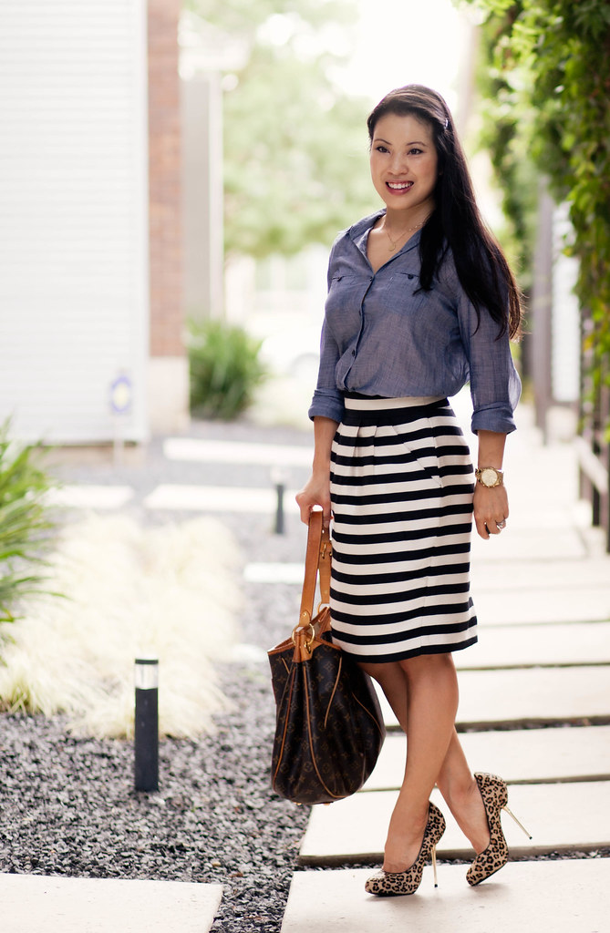 chambray denim shirt, black white striped skirt, leopard print pumps, louis vuitton galliera, outfit