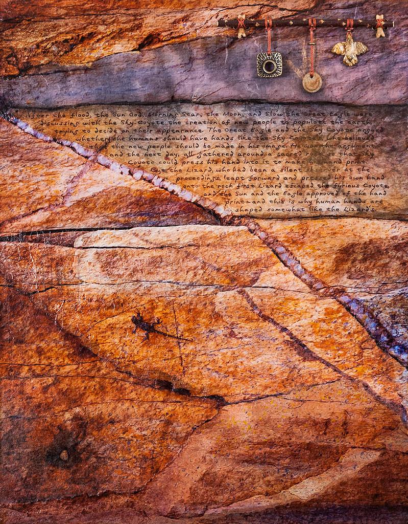 18 x 14  mixed media inspired by rock cut west of Jerome, AZ (Sold)