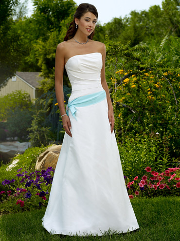 bustier robes de mariage de couleur ceinture bleue