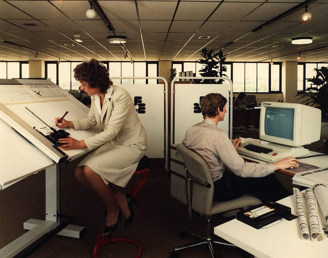 Office workers in the 1970's