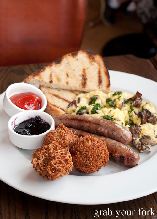 mushroom goat cheese scrambled eggs maple bourbon sausages tater tots toast breakfast Nightwood Chicago Illinois