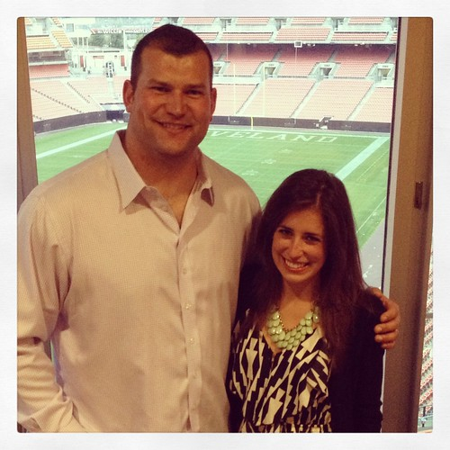 OH Dairy Adventure - Browns tackle Joe Thomas and I - He's so big!