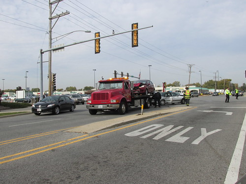 Auto accident at North Harlem Avenue and West Dempster Street.  Niles Illinois.  Late October 2013. by Eddie from Chicago