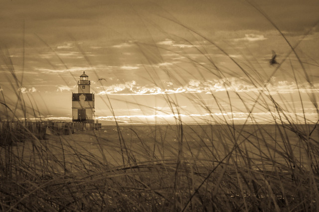 Lighthouse, Sunrise, Sunset, Monochrome, Sepia, Beach Grass