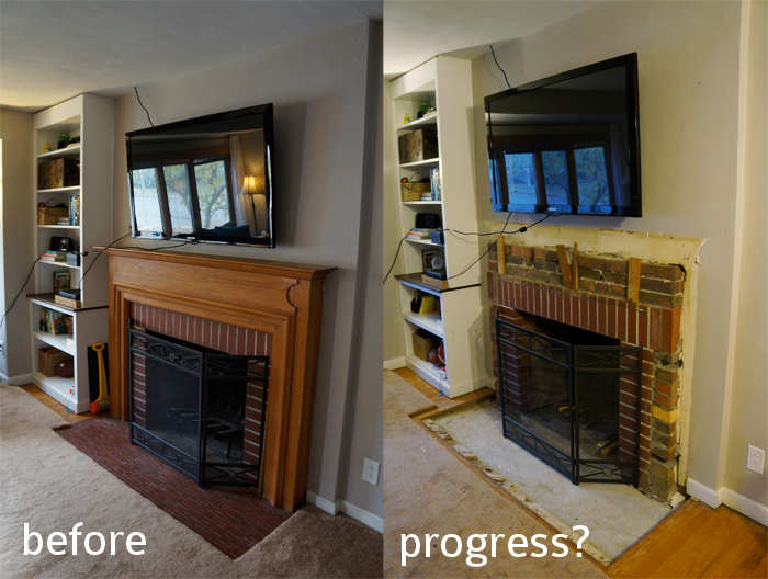 fireplace before and after demo