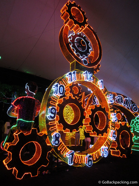 The giant gears of a clock count down to the New Year