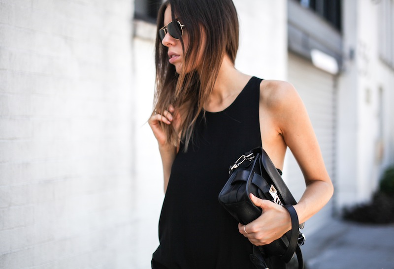 modern legacy fashion style blogger australia all black outfit proenza schouler ps11 mini Acne slouch pants slide sandals celine (3 of 6)