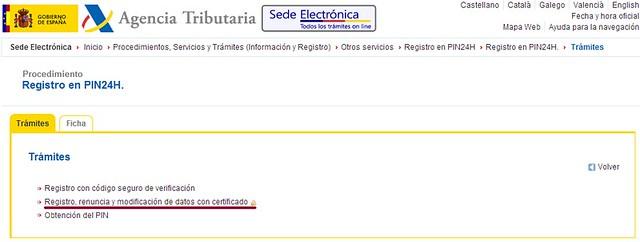 Registro con certificado