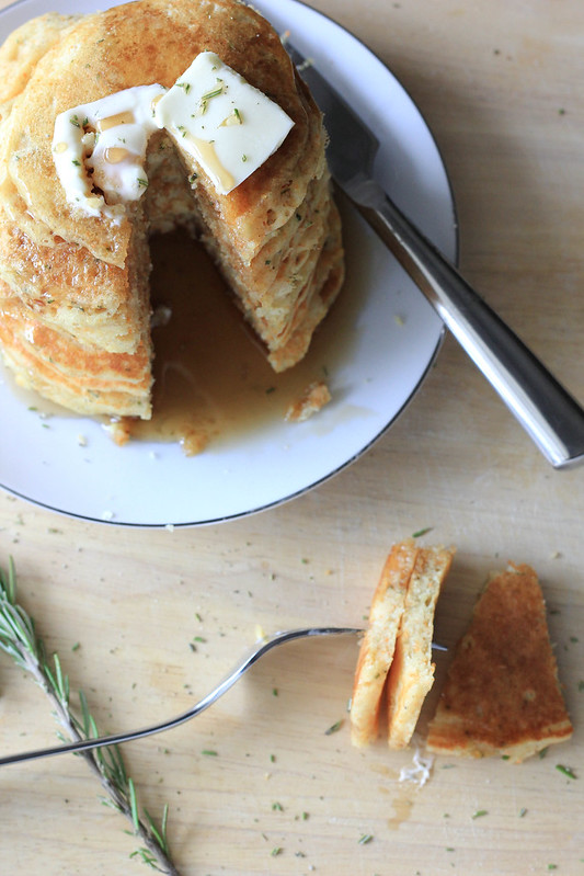 Rosemary Buttermilk Cornmeal Pancakes - Southern Soufflé