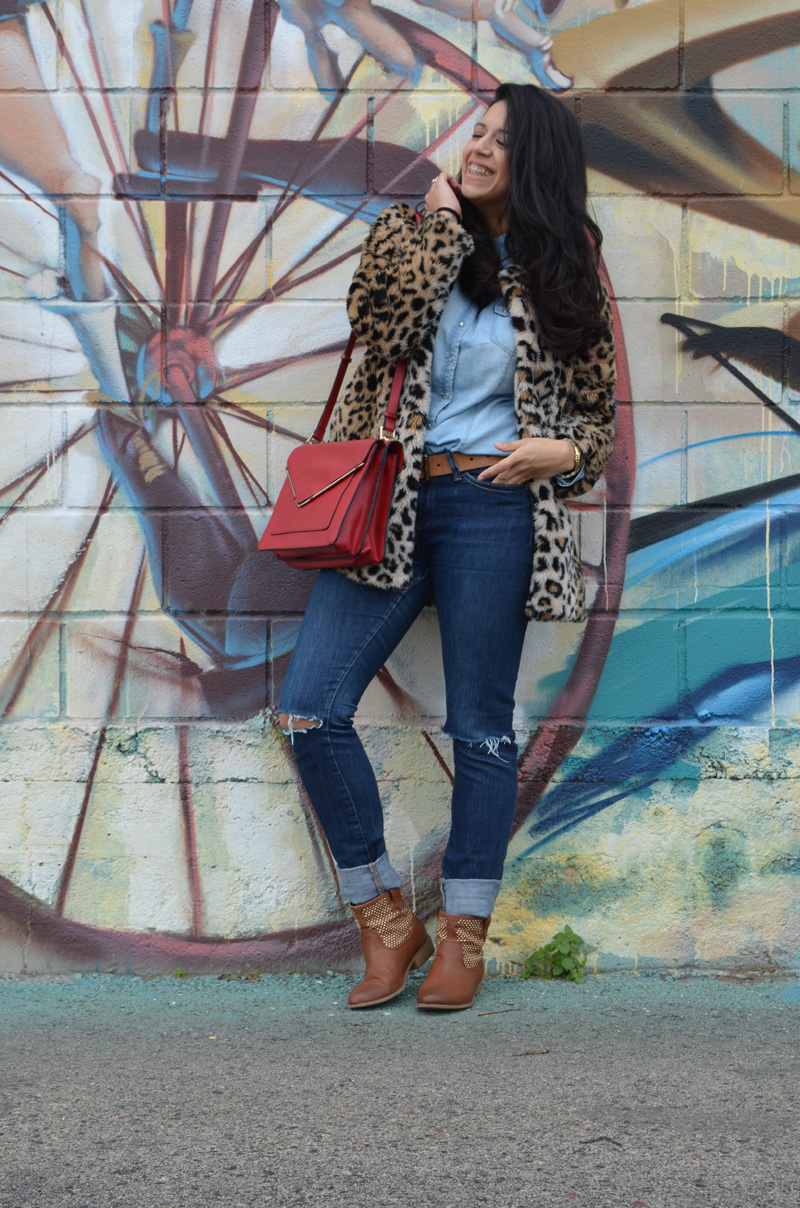 florenciablog coat animal print and total look denim redboxbag  (5)