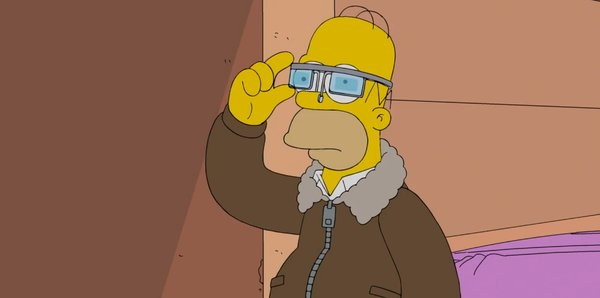 Гомер Симпсон с Google Glass