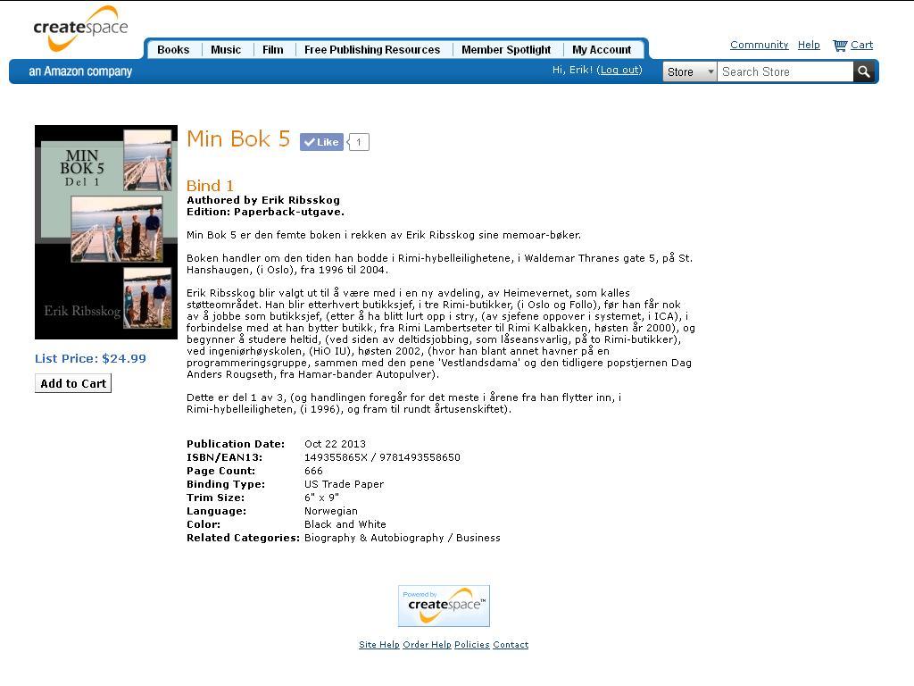 min bok 5 del 1 klar til salg