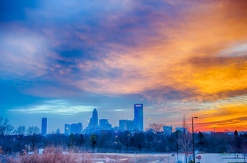 charlotte the queen city skyline at sunrise by DigiDreamGrafix.com