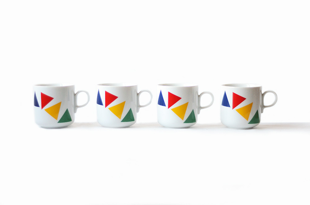 Four Vintage Mikasa Primary Points Mugs