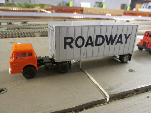 "An H.O Scale model of a Roadway Trucking Company Ford C cab tractor and 20 foot ""Pup"" trailer. by Eddie from Chicago"