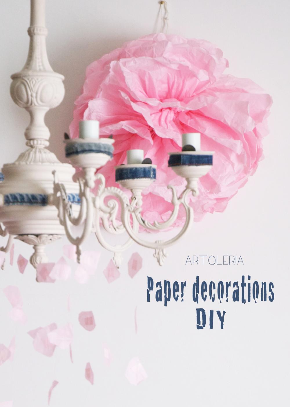 pioggia di carta decorazione da lampadario fai da te