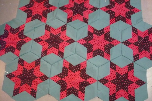 diamond stars - in need of some ironing ... and some fill ins in the gaps