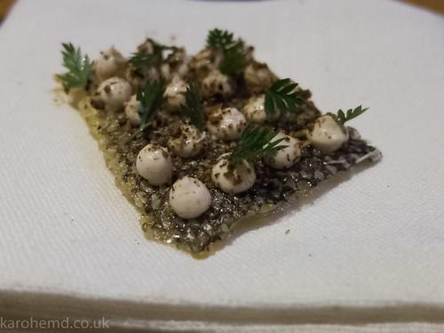 Crispy cod skin, smoked cod roe, gin botanicals
