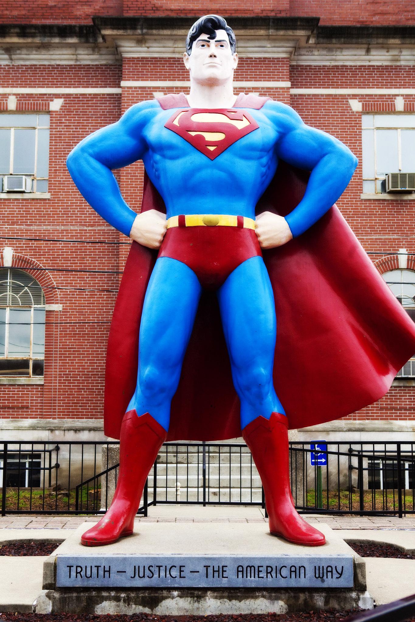 Giant Superman statue, a roadside attraction in Metropolis, Illinois.