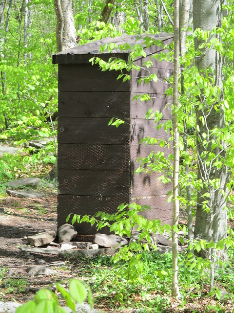 The privy is wrapped in chickenwire