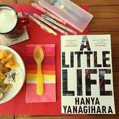 Cottage cheese, chia seeds with bananas, mangoes and the beginning of my journey with Yanagihara's beast. #booksandbreakfast #summer #alittlelife