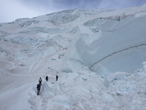 Katrina, Amir, Cameron and Victor underneath a not-small icefall on the descent