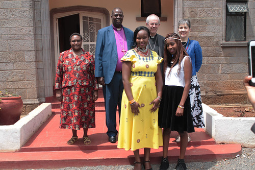 The Archbishop of Canterbury, his Wife, The ARchbishop of The Anglican Church of Kenya, his wife and their Two Dauighters Naomi and Jackline Sapit pose for a photo