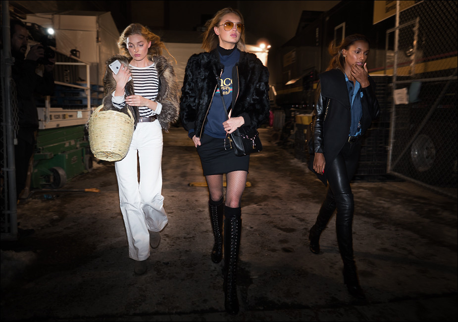 Elsa, Romee & Jasmine after the Jeremy Scott Show...NWFW Feb. 2017