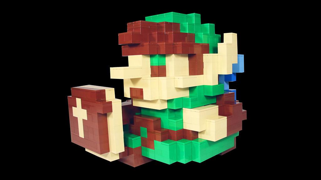 3D 8-Bit LEGO Link sprite from Legend of Zelda (custom built Lego model)