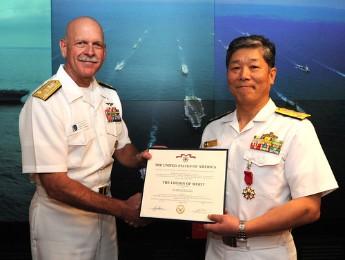 YOKOSUKA, Japan – Commander, U.S. 7th Fleet Vice Adm. Scott H. Swift awarded Commander in Chief, Japan Maritime Self-Defense Force (JMSDF) Fleet Vice Adm. Yasushi Matsushita the Legion of Merit aboard the flagship USS Blue Ridge (LCC 19).