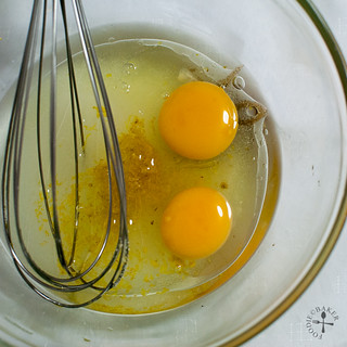 combine eggs, sugar, lemon zest and olive oil together