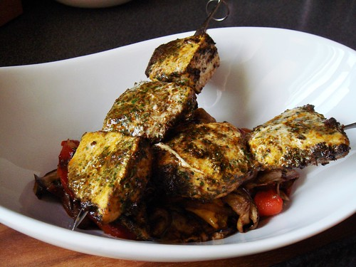 Swordfish Kabobs with Eggplant, Peppers, and Charmoula
