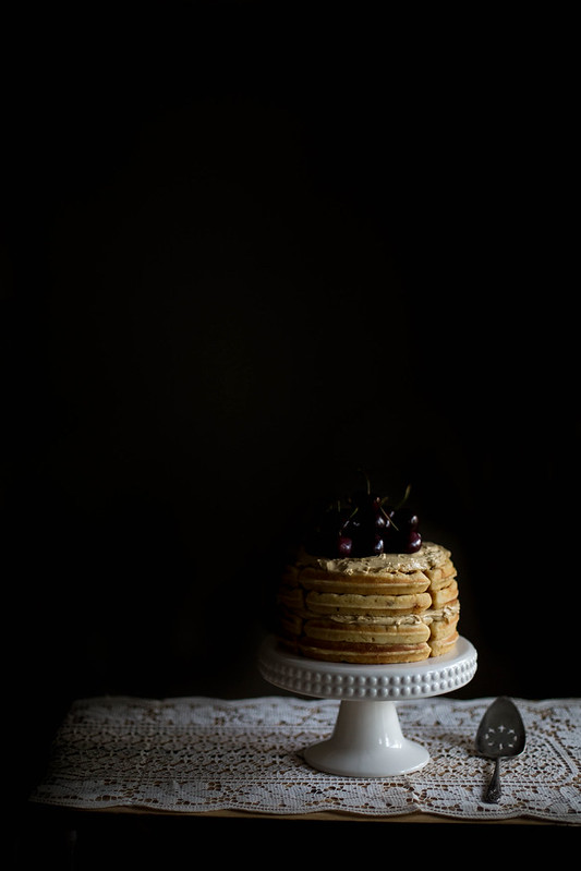 Brown Butter Maple Waffle Cake with Sorghum Meringue Buttercream
