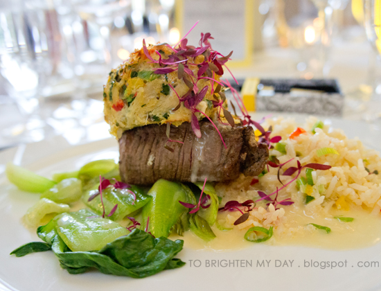 Asian style U.S. Pacific coast dungeness crab cake with teriayki marinated beef tenderloin
