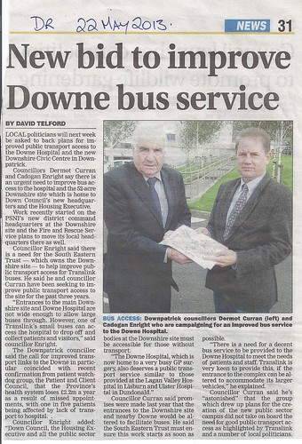 22th May Bid to improve  bus service to the Down Complex
