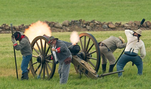 Confederate Cannon Fires During the Reenactment of the Battles of Little Roundtop and Devils Den