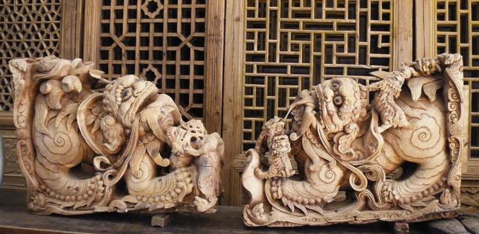 chinese lion carvings - antique furniture
