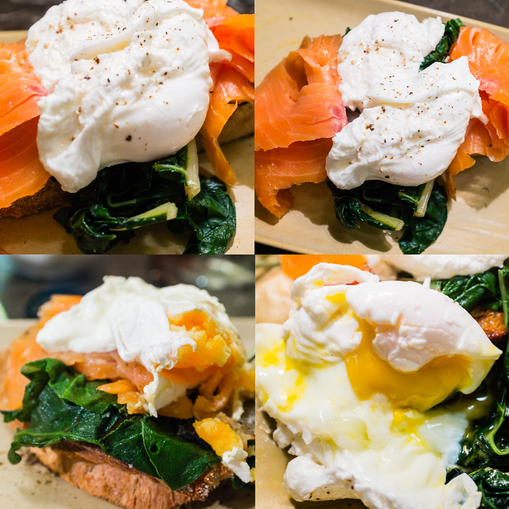 Smoked salmon served w/2 poached eggs & spinach on toast Parlour Lane Roasters Sydney Cafe