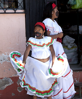 Morales in coastal dress at La Fiesta de la Virgen de la Merced, Ecuador