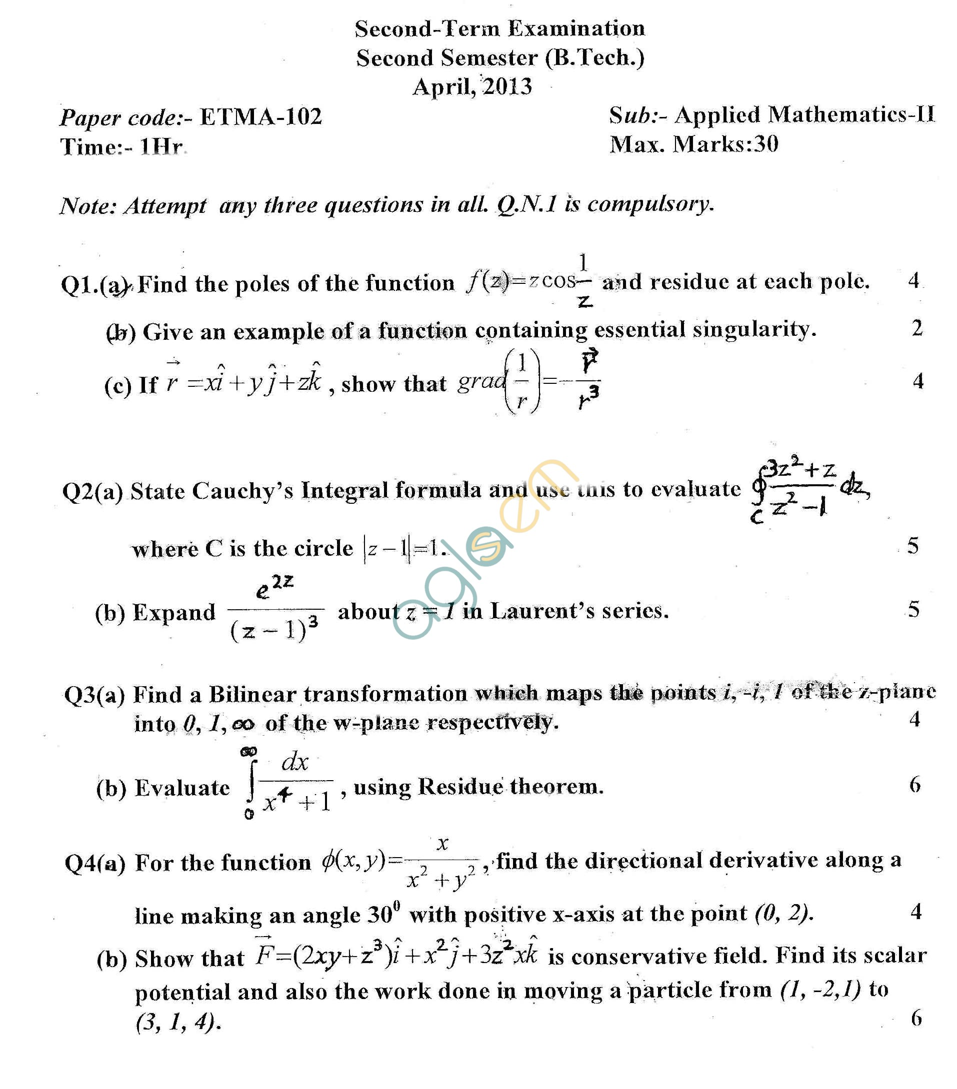GGSIPU Question Papers Second Semester – Second Term 2013 – ETMA-102