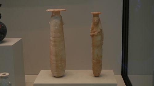 DSCN7480 _ Vessels for Scented Oil - Herding Scenes, Greek, c. 580 B.C. and Veiled Woman, Greek, 575-550 B.C., Getty Villa, July 2013