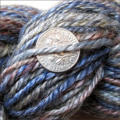 Windsor Denim and Chocolate handspun, close up