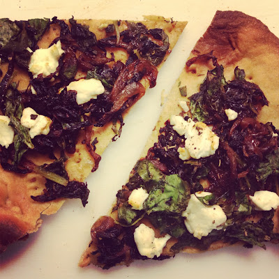 Caramelized Onion, Goat Cheese, and Spinach Pizza