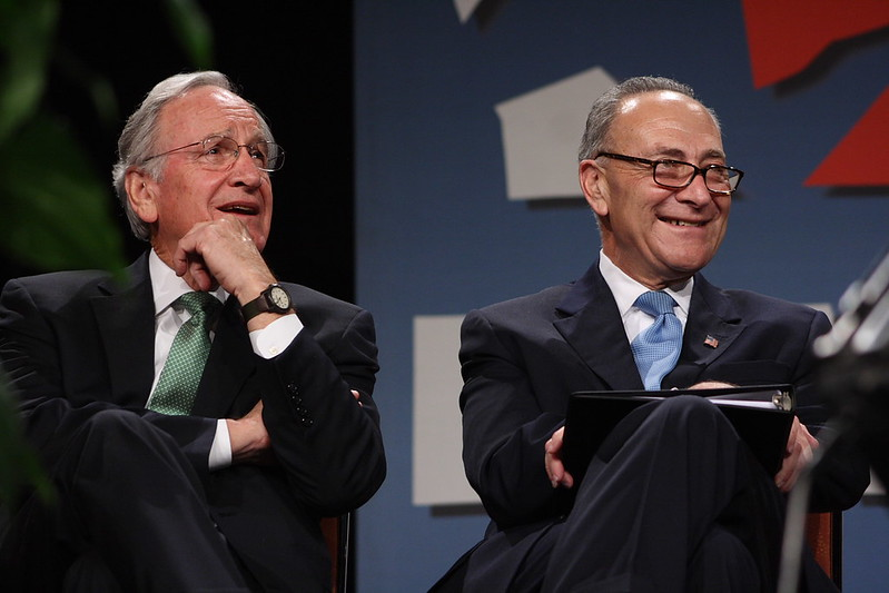 From left, Senators Tom Harkin (D-IA) and Chuck Schumer (D-NY)