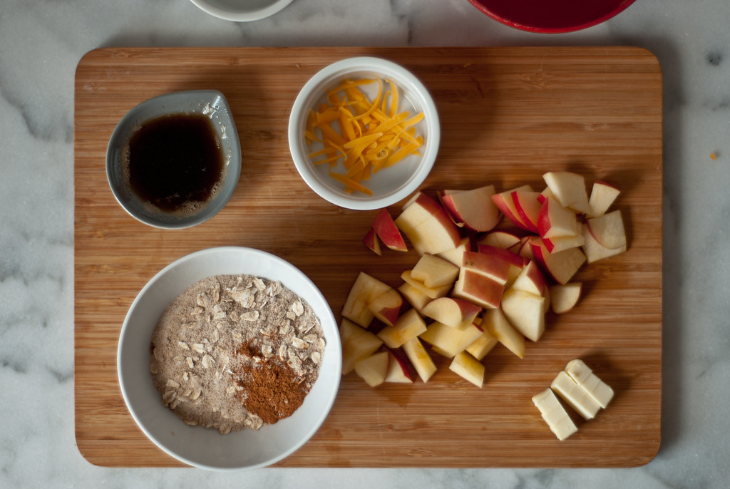 chopped apples mise