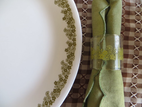 Corelle plates and napkin rings