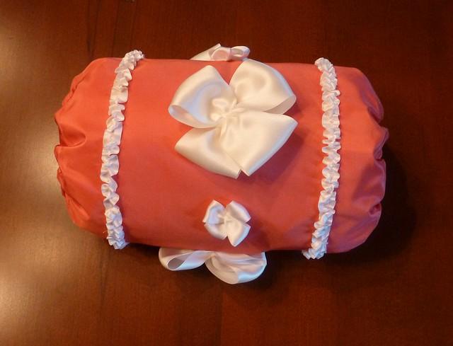 18th century coral pink silk taffeta muff