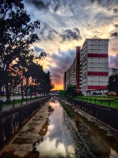 Vividly lush sunset over canal along Hougang Ave 10